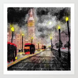 London in the rain Art Print