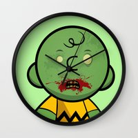 charlie brown Wall Clocks featuring Zombie Charlie Brown by rkbr