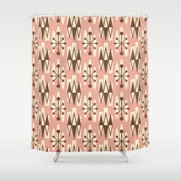 Retro Mid Century Modern Atomic Triangles 727 Brown and Dusty Rose Shower Curtain