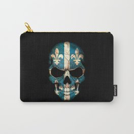 Dark Skull with Flag of Quebec Carry-All Pouch