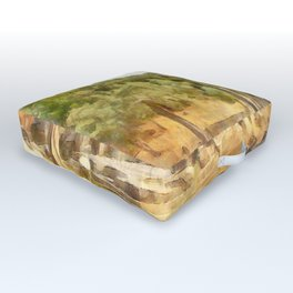 Fallen Ruins of Euromos Watercolor Outdoor Floor Cushion