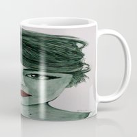 emma stone Mugs featuring Emma Stone  by Kristy Holding