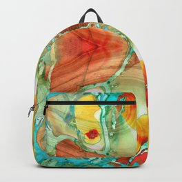 Red And Yellow Abstract Art - A Strong Finish - Sharon Cummings Backpack