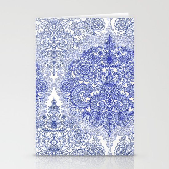 Happy Place Doodle in Cornflower Blue, White & Grey Stationery Cards