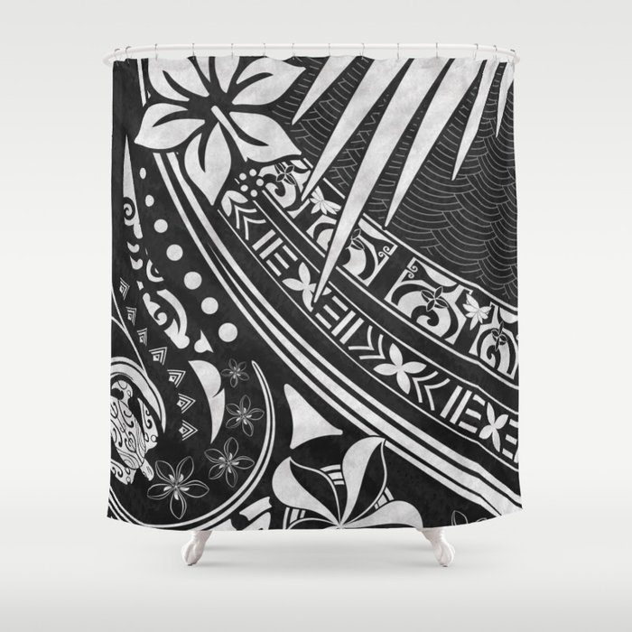 Black Ink Tribal Threads Shower Curtain By Sunnthreads