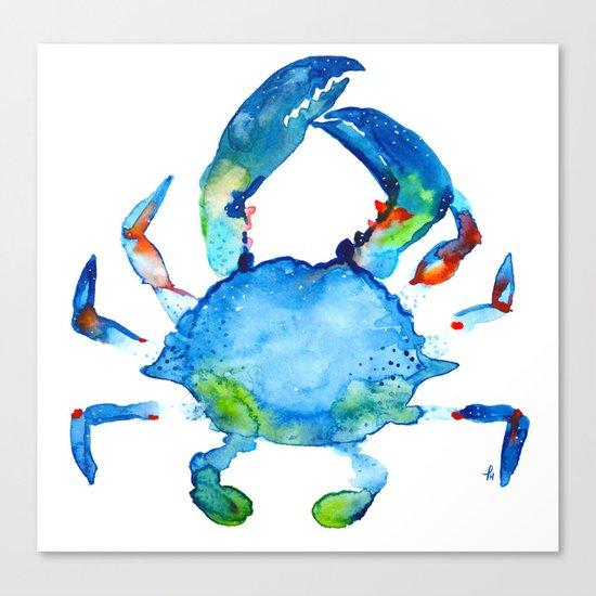 Blue Claw Crab - Nautical - Summer - Ocean - Sea Life Canvas Print