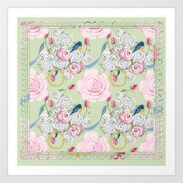 Shabby Chic Bluebirds and Roses Art Print