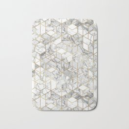 White marble geomeric pattern in gold frame Bath Mat