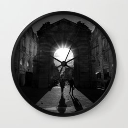 Rays of Sunlight through Roman Arches black and white photograph Wall Clock