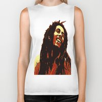 reggae Biker Tanks featuring the god of reggae by  Agostino Lo Coco