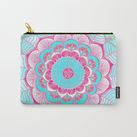 Tropical Bloom - floral doodle in pink, mint, peach, aqua, white Carry-All Pouch