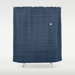 Blue and White Grid - Something's missing Shower Curtain