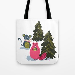 Christmas Holiday Forest Animals in the Woodlands Giving Gifts Tote Bag