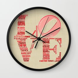 Sonnet 116 Love Is Not Love Shakespeare Word Cloud Shape Wall Clock