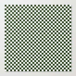 Dark Forest Green and White Check Canvas Print