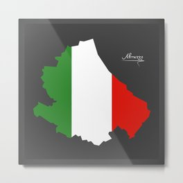 Abruzzo map with Italian national flag illustration Metal Print