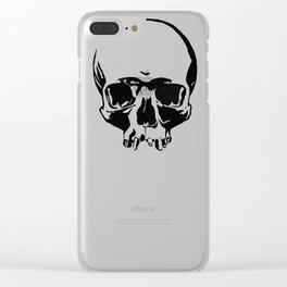 Black & White Simple Skull Clear iPhone Case