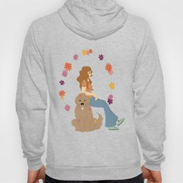 Digital illustration hippie girl with dog sitting flower power 70s style animals Hoody