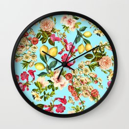 Lemon and Leaf Pattern IV Wall Clock
