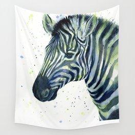Zebra Watercolor Blue Green Animal Wall Tapestry