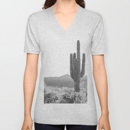 Cactus, Black and White Art, Desert Wall Art Unisex V-Neck