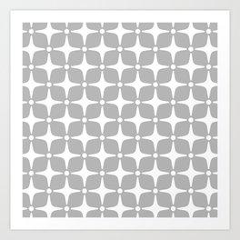 Mid Century Modern Star Pattern Gray 2 Art Print
