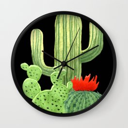 Perfect Cactus Bunch on Black Wall Clock