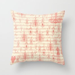 Vintage ivory coral mannequin chandelier music note collage Throw Pillow