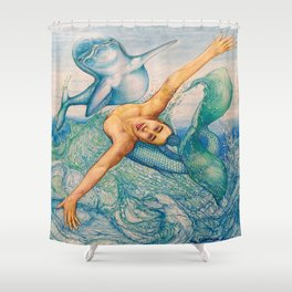 Zodiac Signs Pisces Drawing Shower Curtain