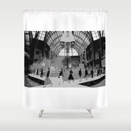 iconic runway industrial black and white Shower Curtain
