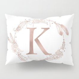 Letter K Rose Gold Pink Initial Monogram Pillow Sham