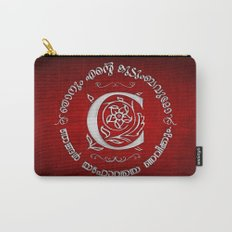 Joshua 24:15 - (Silver on Red) Monogram C Carry-All Pouch