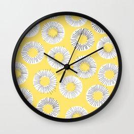 Modern yellow black watercolor abstract circles Wall Clock