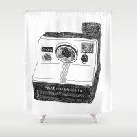 polaroid Shower Curtains featuring Polaroid Camera by BUMMERAMA