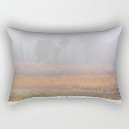 Wild ducks and cormorants at foggy sunrise  Into the foggy lake Rectangular Pillow