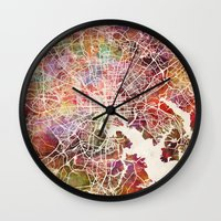 baltimore Wall Clocks featuring Baltimore map by MapMapMaps.Watercolors