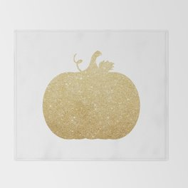Gold Glitter Pumpkin Throw Blanket