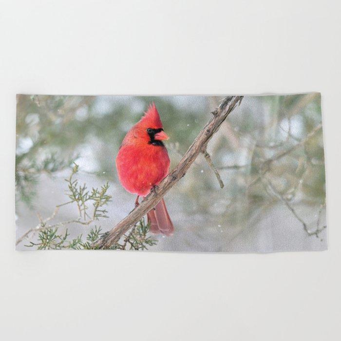 Winter's End Cardinal Beach Towel