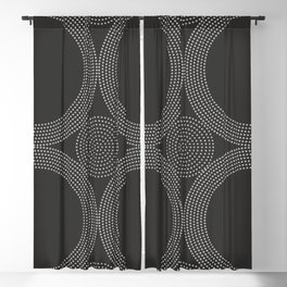 Dotted Circles Black & White Blackout Curtain
