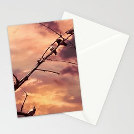 Picturly Purple Sky Leafless Branches and Birds Stationery Cards