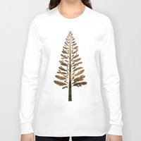 arya Long Sleeve T-shirts featuring Feather Tree in warm colours by Hinal Arya