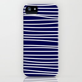 Navy Blue & White Maritime Hand Drawn Stripes- Mix & Match with Simplicity of Life iPhone Case