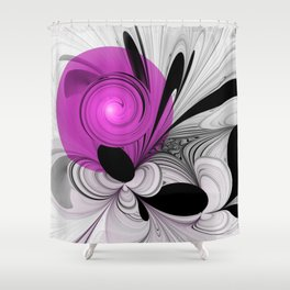 Abstract Black and White with Pink Shower Curtain