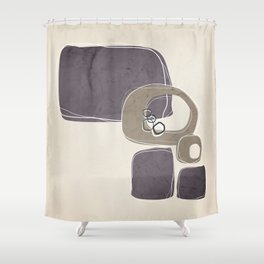 Retro Abstract Design in Taupe and Aubergine Shower Curtain