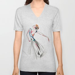 Original Ballet Dance Drawing – Watercolor and Ink on Paper Unisex V-Neck