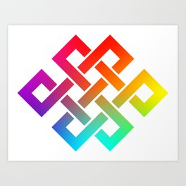 Eternity knot in rainbow colors Art Print