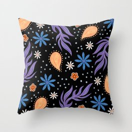 Bohemian Floral Funky Hippie Spring Flowers Pattern Throw Pillow