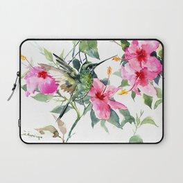 Hibiscus and Hummingbird, Hawaiian Aloha, birds and flowers design Laptop Sleeve