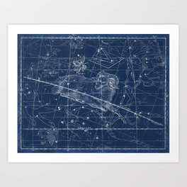 Aries sky star map Art Print