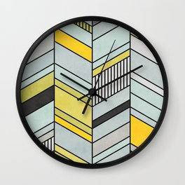 Colorful Concrete Chevron Pattern - Yellow, Blue, Grey Wall Clock